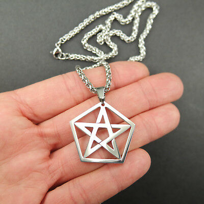 Pentacle in Pentagon Necklace, Pure Stainless Steel Pentagram Pendant Jewelry