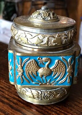 Antique Chinese Cloisonne and Brass Cranes Tea Caddy Jar