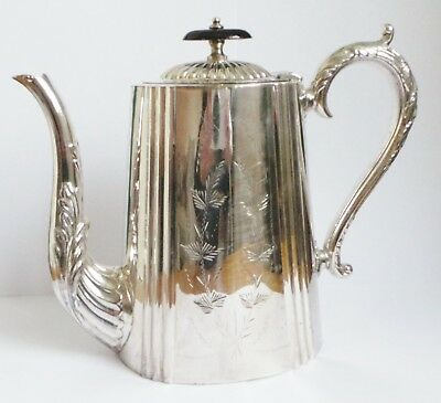 Antique Silver Plated Coffee Pot - Plated With Pure Silver Stamped On Base