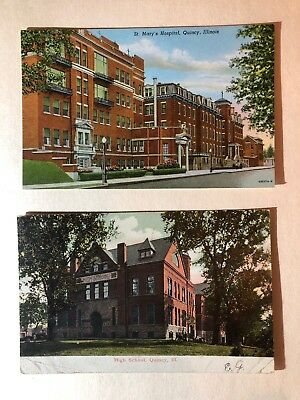 2 1900s Quincy Illinois Post Cards