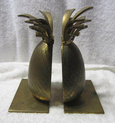 Pair of Vintage Solid Brass Pineapple Bookends Hollywood Regency