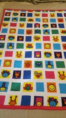 "Handmade Kids Funny Quilt- 36"" x 47"" -Machine Quilted"