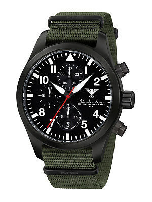 KHS Tactical Watches Black Steel Chronograph Light Army Band Oliv KHS.AIRBSC.NO