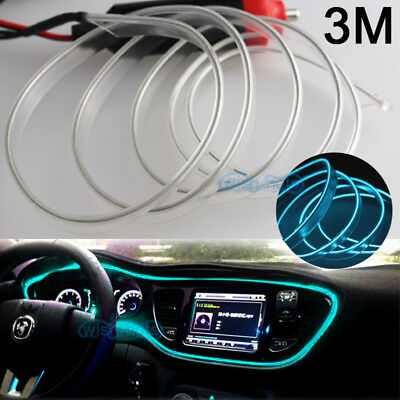 10ft 12V EL Wire Ice Blue Cold light Car Atmosphere Unique Decor For Chevrolet