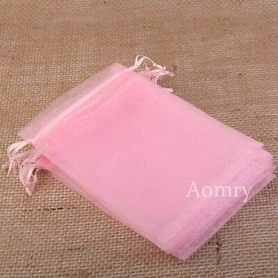 50pcs 7x9cm Pink Luxury Quality Organza Wedding Jewellery Gift Pouch Favour Bag