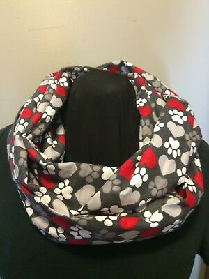 Grey Puppy Dog Kitty Cat Paw Prints with Red Heart Cotton Flannel Infinity Scarf