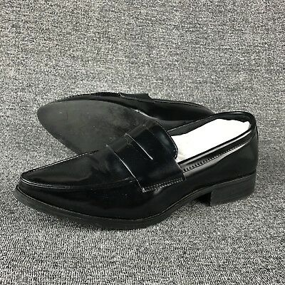4afa4a37598 WOMENS SIZE 7.5 Steve Madden Black Leather Penny Loafers Shoes ...