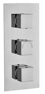 Square Concealed Thermostatic Shower Mixer triple Valve 3 Way Outlet chrome
