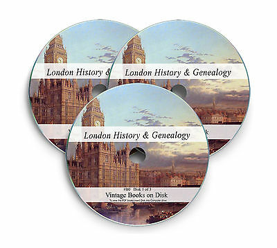 610 London Genealogy History Books on 3x DVD Local Parish Registers Middlesex B0