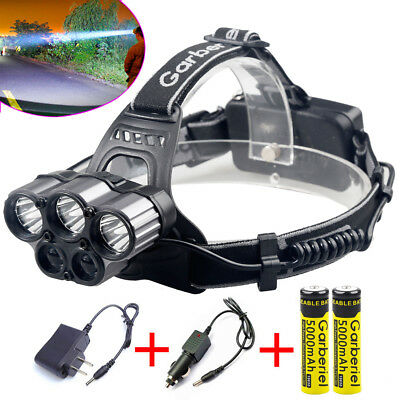 150000LM 6-mode 5LED Headlamp Rechargeable 18650 Headlight Battery&Charger USA