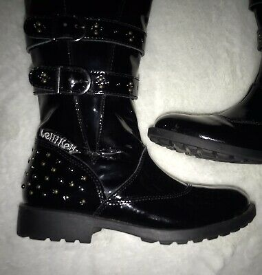 💫  Girls Lelli Kelly Black Patent Studded Boots Sz 31 - Good Condition