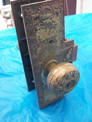 Indiana Farm House Find=Large Vintage Brass Door Latch And Knob Set-Victorian-