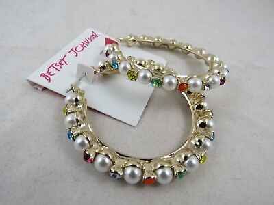 284c47a774b41 BETSEY JOHNSON GOLD-TONE GRANNY CHIC Faux Pearl Crystal Large Hoop Earrings  $55