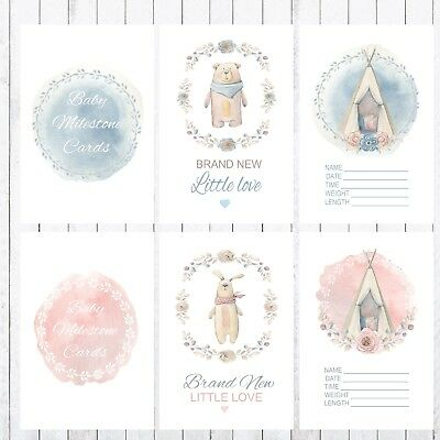 Baby Milestone Cards, Photo props, 32 4x6 Cards, Boy or Girl