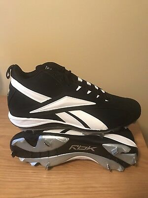Men s Reebok Vero FL Mid-Nubuck Black White Metal Baseball Cleats Size 13 bf899a604