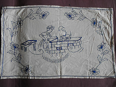 #1030  Beautiful Vintage  Embroidered Tapestry   76cm/49cm(30''x19'')