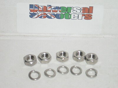 Stainless Steel Vespa Wheel Nut Kit - 5x Spring Washer & 8mm Nuts for wheel rim.