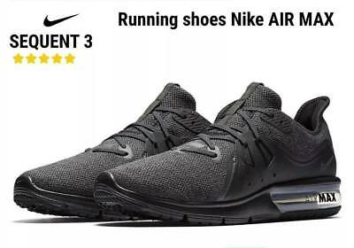 Men Nike Air Max Sequent 3 Running Shoes Black Anthracite 921694-010 New In Box