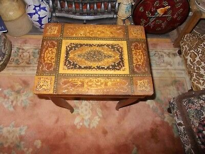A  Beautiful Vintage Antique Style Marquetry Inlay  Musical  Table Box Card