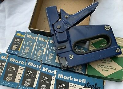 Vintage Markwell L3 Tacker Stapler BLUE staples box L3C L3M L3MF USA Gun tool