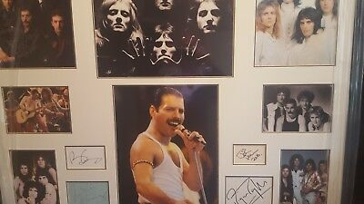 queen/freddie mercury genuine hand signed professionally framed 39x31 inch coa