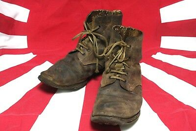 WW2 Imperial Japanese Army short LEATHER boots SHOES WWII SPIKE sole