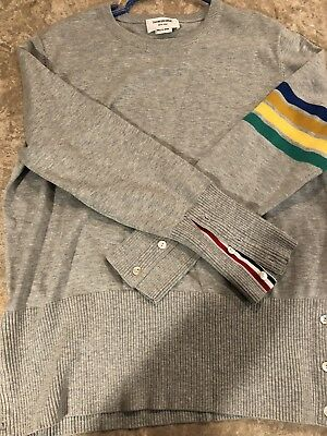 THOM BROWNE LIGHT Gray 4 Bar Tweed Ireland Wool Cardigan Sweater ... 9474b083e
