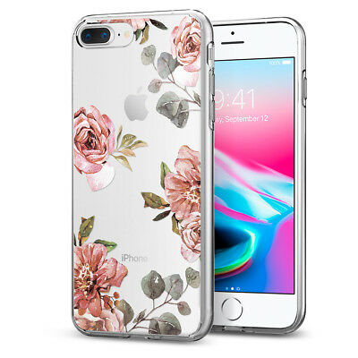 Apple iPhone 8 / 8 Plus Spigen® [Liquid Crystal Aquarelle] Rose TPU Cover Case