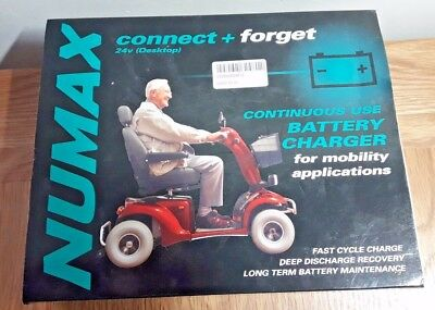 NUMAX 24v 4amp MOBILITY SCOOTER WHEELCHAIR BATTERY CHARGER - CONNECT & FORGET