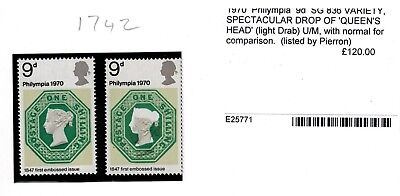 rare error  1970 PHILIMPIA 9d DROP OF COLOUR ON QUEEN'S HEAD  MNH SG 836 VARIETY