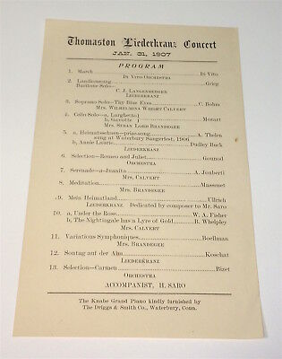 Rare Antique American Thomaston Liederkranz Connecticut Concert Program C.1907!