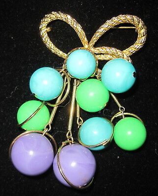 Vintage RETRO Pin Bead Cluster and Bow Brooch