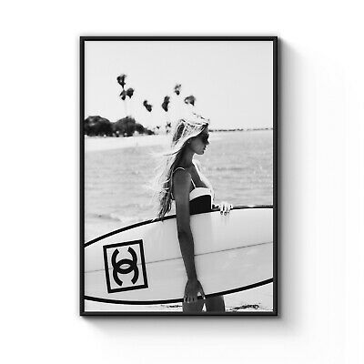 COCO CHANEL Surf Icon Model Decor Wall Art Poster Print - A4 A3 A2 A1 A0 Framed