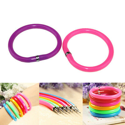 2pcs Flexible Pen Ballpoint Pens Plastic Bangle Bracelet School Supplies Gift