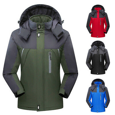 Men Winter Outdoor Warm Coat Fleece Waterproof Lined Ski Suit Jacket Windproof