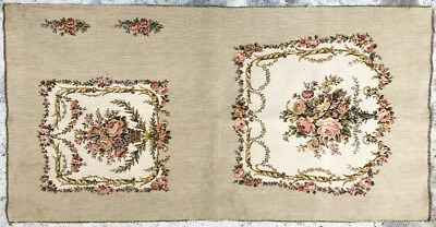 Vintage 1930's French Tapestry with Seat, Back & Arm Parts