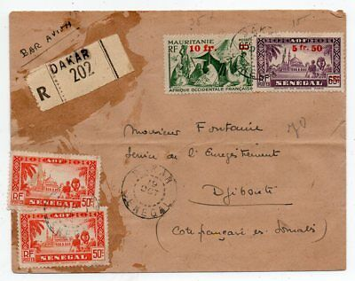 1944 Senegal France To Djibouti Reg Airmail Cover, Scarce Stamps, Wow