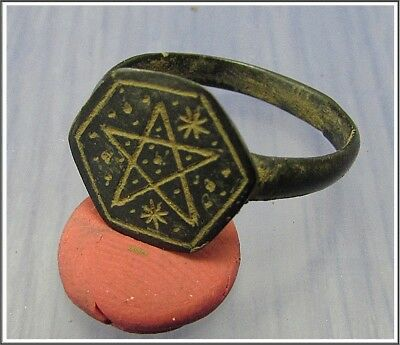 ** PENTAGRAM and TWO STARS **Ancient Bronze Roman Ring **AMAZING **