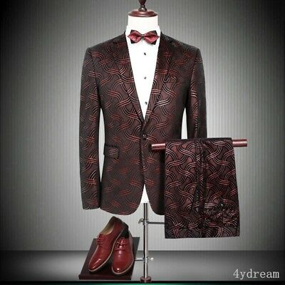 Wine Red Printed Floral Men's Wedding Suits Formal Groom Tuxedos Business Blazer