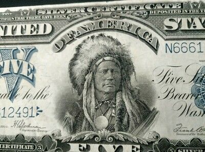 """1899 High Grade $5 Silver """"one Papa"""" Indian Chief Certificate! Scarce In This..."""