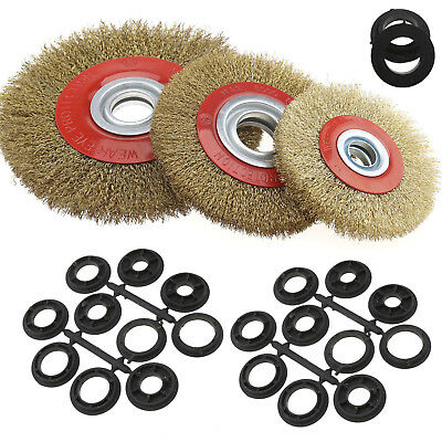5/'/' 6/'/' 8/'/' Wire Brush Wheel for Bench Grinder Polish Reducers Adaptor Rings