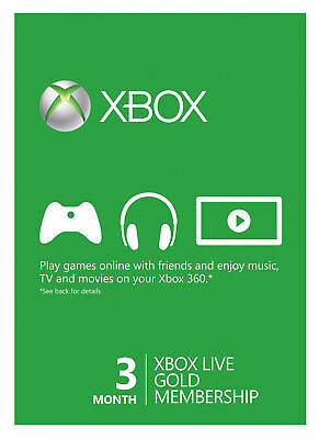 Microsoft Xbox Live Subscription 3 Month Gold Membership Card! Ship card only