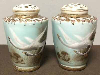 Antique Porcelain Salt & Pepper Shakers Chinese Hand Painted Swan Old Vintage