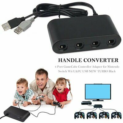 4 Port GameCube Controller Adapter for Nintendo Switch Wii U&PC USB NEW TURBO