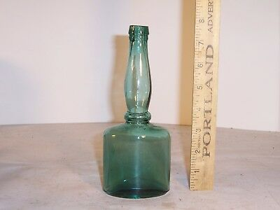 Antique bottle, blue-green, hair product, 1880's-90's