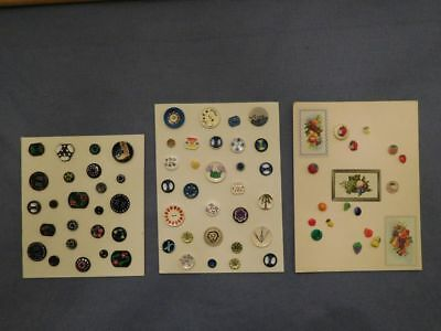 Lot of 70 Vintage  Buttons 3 Display Cards Hand Painted Blue White Black Fruit