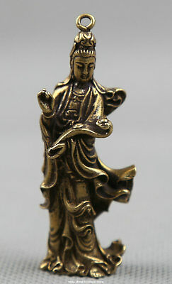 55MMCollect Small Curio Chinese Buddhism Bronze Kwan-yin Guan Yin Wealth Pendant