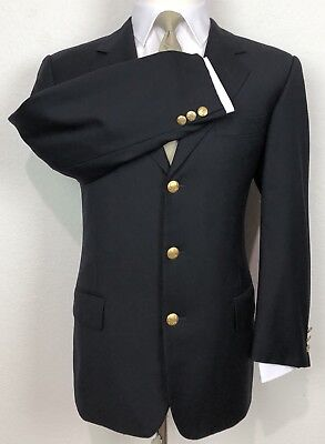 Corneliani Italy Dark Navy Blue Blazer Gold Button Super 100 Wool Sport Coat 38R