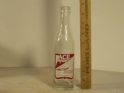Soda bottle, red & white ACL, airplanes, 7-1/2 oz., Ace High, Framingham, Ma.
