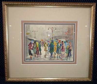 """John Chetcuti (1900-1976) Signed Watercolor """"A Rainy Day in London"""" - Framed"""